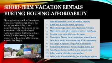 SHORT-TERM VACATION RENTALS HURTING HOUSING AFFORDABILITY