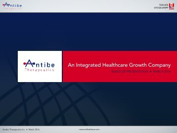 An Integrated Healthcare Growth Company