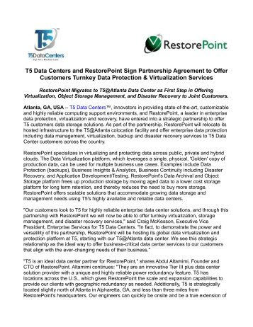T5 Data Centers and RestorePoint Sign Partnership Agreement to Offer Customers Turnkey Data Protection & Virtualization Services