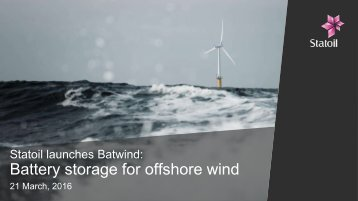 Battery storage for offshore wind
