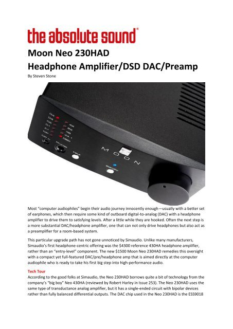Moon Neo 230HAD Headphone Amplifier/DSD DAC/Preamp