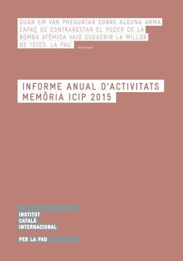 Informe anual d'activitAts MEMÒRIA ICIP 2015