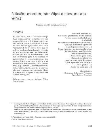Almeida e Lourenço - Conceitos, estereótipos e mitos acerca da velhice