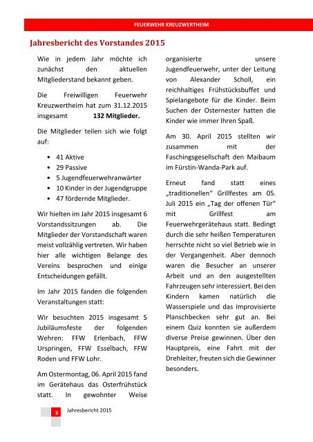 FW Kreuzwertheim Jahresbericht 2015