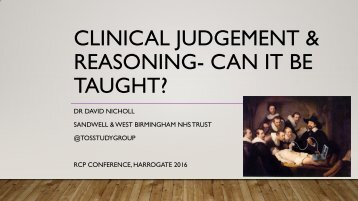 CLINICAL JUDGEMENT & REASONING- CAN IT BE TAUGHT?