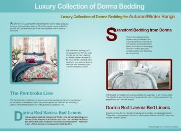 Luxury Collection of Dorma Bedding for Autumn/Winter Range