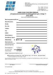 Anmeldung zur Prüfung - SBW GmbH