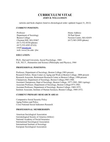 curriculum vitae - Boston College