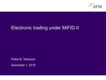 Electronic trading under MiFID-II