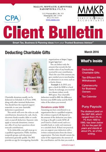 Deducting Charitable Gifts