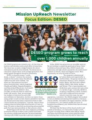Mission UpReach Newsletter - March 2016
