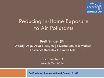 Reducing In-Home Exposure to Air Pollutants