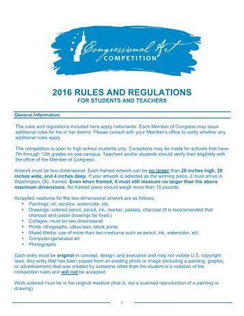 2016 RULES AND REGULATIONS