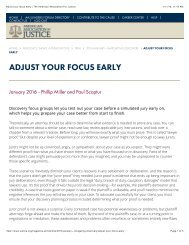 ADJUST YOUR FOCUS EARLY