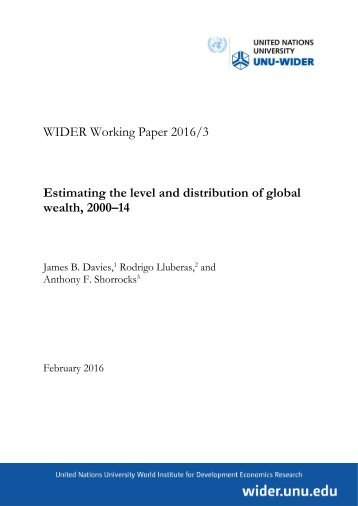Estimating the level and distribution of global wealth 2000–14