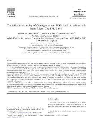The efficacy and safety of Crataegus extract WS® 1442 in patients ...