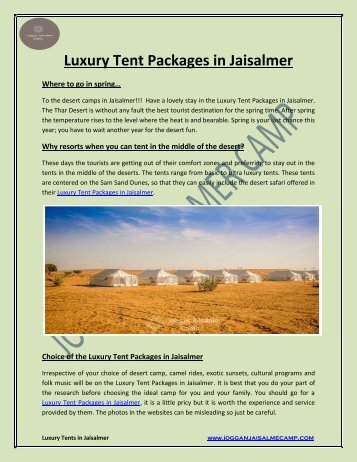 Luxury Tent Packages in Jaisalmer
