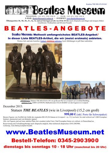 Beatles Museum - Katalog 61 mit Hyperlinks