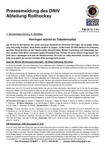 Pressemeldung des DRIV Abteilung Rollhockey