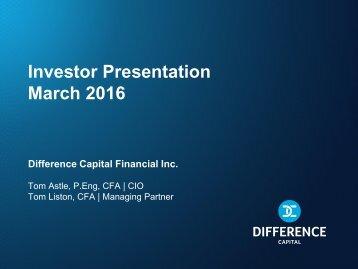 Investor Presentation March 2016