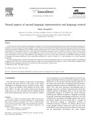 Neural aspects of second language representation and language ...