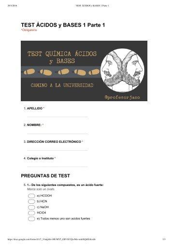 TEST ÁCIDOS y BASES 1 Parte 1 - Formularios de Google