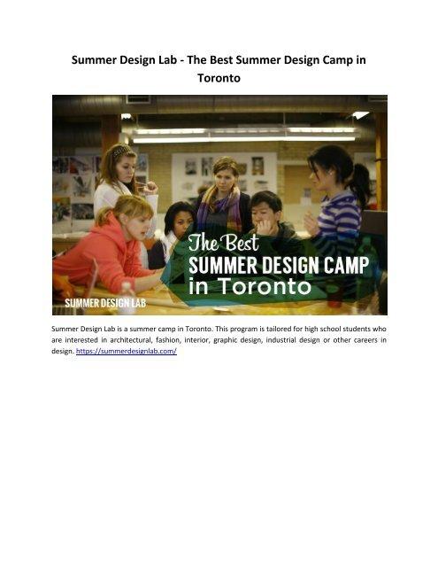 Summer Design Lab The Best Summer Design Camp In Toronto