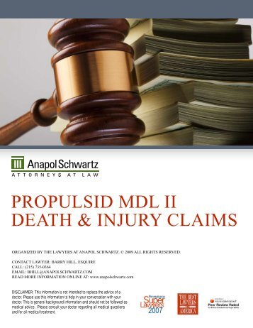 prOpuLsid mdL ii deaTh & injury cLaims