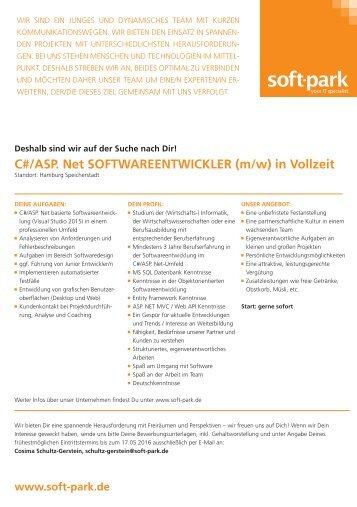 Stellenanzeige Softwareentwickler