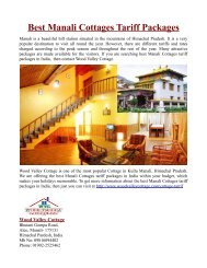 Best Manali Cottages Tariff Packages