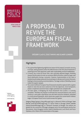 A PROPOSAL TO REVIVE THE EUROPEAN FISCAL FRAMEWORK