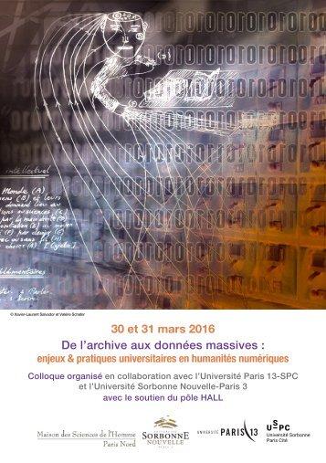 30 et 31 mars 2016 De l'archive aux données massives