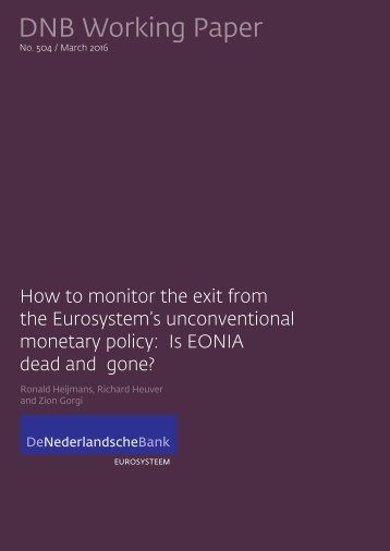 the Eurosystem's unconventional monetary policy Is EONIA dead and gone?