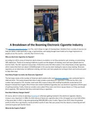 A Breakdown of the Booming Electronic Cigarette Industry