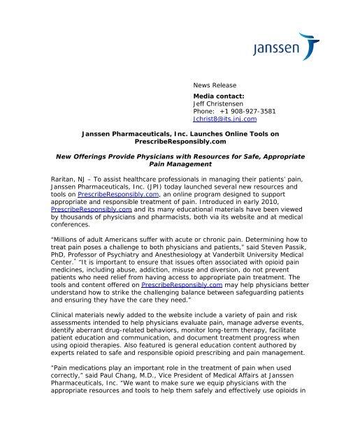Media contact - Janssen Pharmaceuticals, Inc