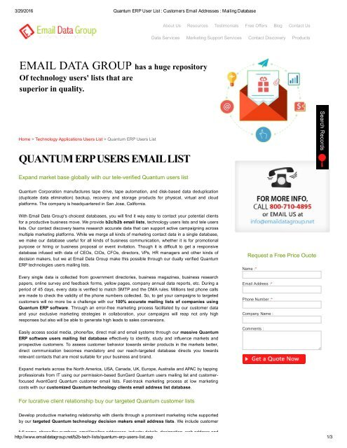 Quantum ERP Users Email and Mailing List for B2B Marketing