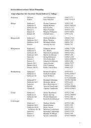 die Liste mit den Ansprechpartnern der einzelnen Mannschaften