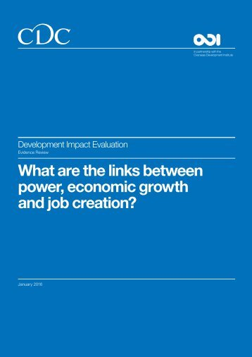 What are the links between power economic growth and job creation?
