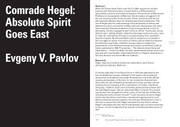 Comrade Hegel Absolute Spirit Goes East Evgeny V Pavlov