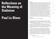 Reflections on the Meaning of Stalinism Paul Le Blanc