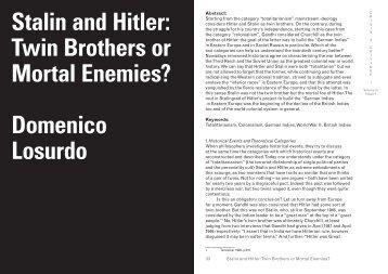 Stalin and Hitler Twin Brothers or Mortal Enemies? Domenico Losurdo