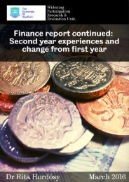 Finance report continued Second year experiences and changes from first year
