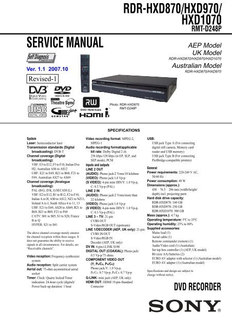 RDR-HXD870/HXD970/ HXD1070 RMT-D248P - Sony