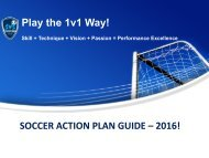 Play the 1v1 Way! SOCCER ACTION PLAN GUIDE – 2016!