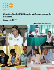Contribución de UNFPA a prioridades nacionales de desarrollo Memoria 2015