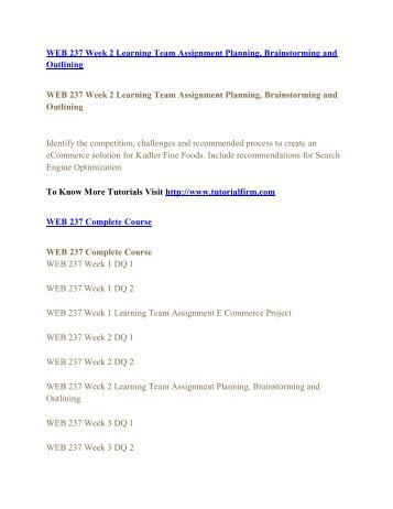 WEB 237 Online Help,WEB 237 Course Tutorials,WEB 237 UOP Guide