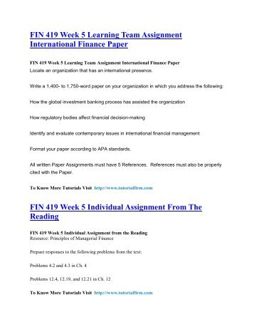 FIN 419 UOP Tutorials,FIN 419 UOP Assignments,FIN 419 UOP Entire Class