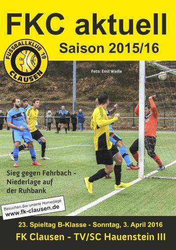 FKC Aktuell - 23. Spieltag - Saison 2015/2016