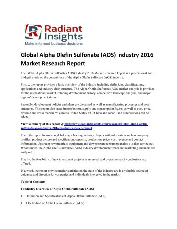Alpha Olefin Sulfonate (AOS) Market Size, Segmentation, Demand Forecast Report Up To 2016: Radiant Insights, Inc