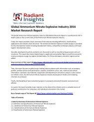 Ammonium Nitrate Explosive Market Survey & Market Size Up To 2016: Radiant Insights, Inc